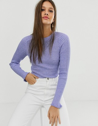 Asos Design DESIGN recycled blend crew neck jumper in skinny rib in twist-Navy