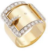 Janis Savitt 18K Yellow Gold & 1.06 Total Ct. Diamond Buckle Ring