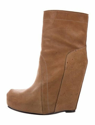 Rick Owens Platform Wedge Ankle Boots Brown