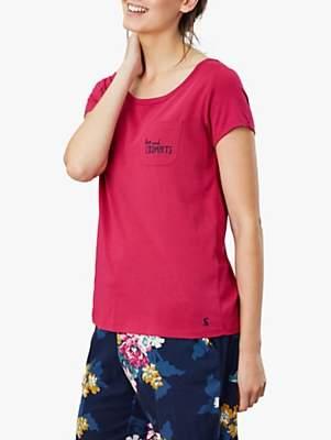 Joules Anna Tea & Crumpets Pyjama T-Shirt, Pink