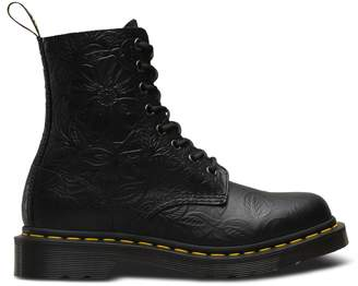 Dr. Martens Pascal Floral Embossed Leather Boots with Lace-Up Fastening