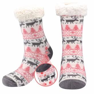 Srxwo Womens Slipper Socks Ladies Non-Slip Fleece Lined Warm Slipper Socks with Grips
