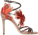 Jimmy Choo 100mm Lolita Flower Leather Sandals
