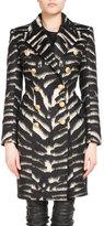 Balmain Double-Breasted Zebra-Print Coat