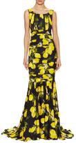 Dolce & Gabbana Silk Lemon Print Ruched Gown