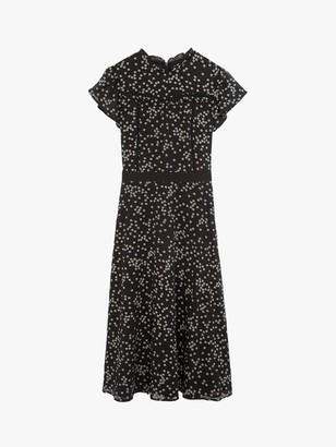 Oasis Daisy Print Long Dress, Black