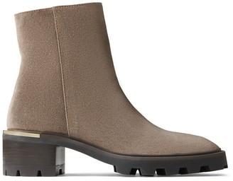 Jimmy Choo MELODIE 35 Mink Velvet Suede Block Heel Boots with Mirrored Trim