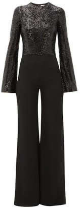 Galvan Modern Love Fluted-sleeve Sequinned-crepe Jumpsuit - Womens - Black