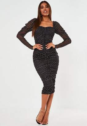 Missguided Black Polka Dot Ruched Mesh Midaxi Dress