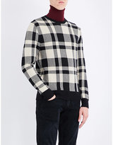 Ralph Lauren Purple Label Checked Cashmere And Wool-blend Jumper