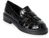 Aperlaï Black Leather Kiltie Loafers