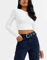 Asos Design DESIGN leather tipped jeans belt in black with shiny silver metal