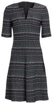 St. John Texture Boucle Tweed A-Line Dress