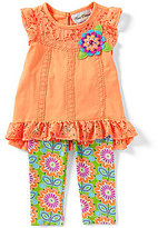 Rare Editions Baby Girls 12-24 Months Solid Lace Cap-Sleeve Tee & Flower-Printed Leggings Set