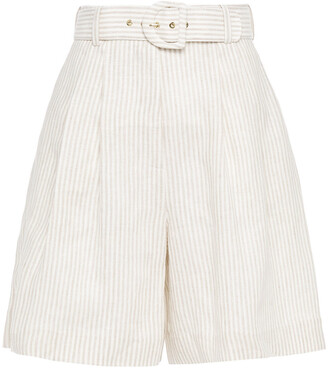 Zimmermann Belted Pleated Striped Linen Culottes