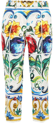 Dolce & Gabbana Cropped Printed Cotton-blend Jacquard Tapered Pants