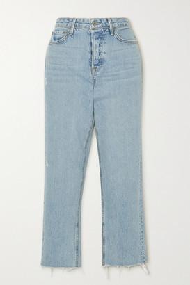 GRLFRND Helena Frayed High-rise Straight-leg Jeans - Light denim