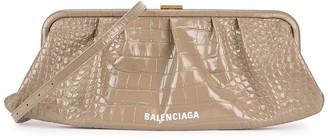 Balenciaga Cloud XL Taupe Crocodile-effect Leather Clutch