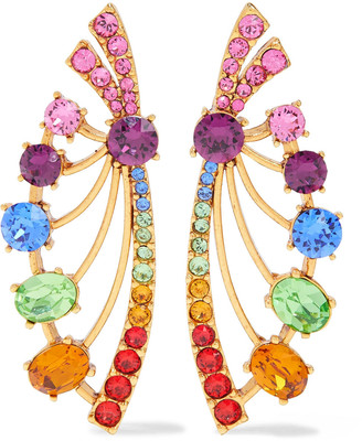 Oscar de la Renta Gold-tone Crystal Earrings