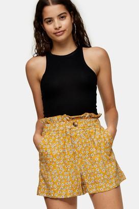 Topshop Mustard Floral Print Paperbag Turn Up Shorts