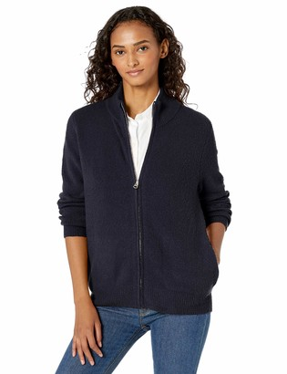 Daily Ritual Amazon Brand Women's Cozy Boucle Zip-Front Cardigan Sweater