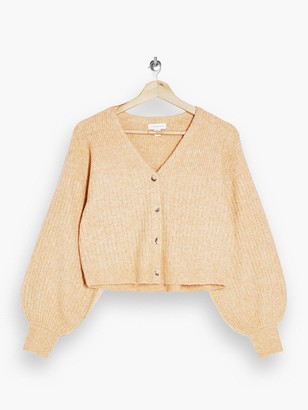 Topshop Balloon Sleeve Cropped Knitted Cardigan - Camel