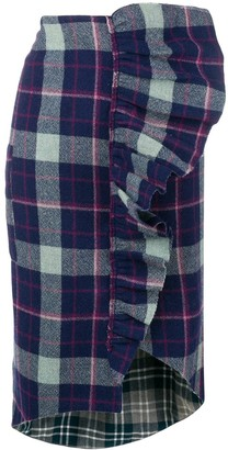 Natasha Zinko Ruffled Plaid Skirt