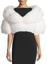 Adrienne Landau Boxy Fox Fur Glamour Stole, White