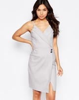 Paper Dolls Wrap Over Tuxedo Detail Midi Dress