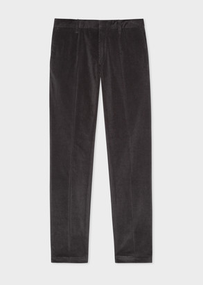 Paul Smith Men's Slim-Fit Smoke Grey Corduroy Trousers