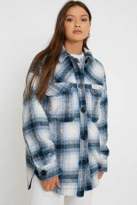 Urban Outfitters Wool Check Shirt Jacket - blue S at