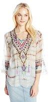 Hale Bob Women's Wearable Art Silk Crinkle Chiffon Beaded Detail Blouse
