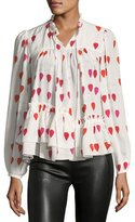 Alexander McQueen High-Neck Button-Front Petal-Print Silk Blouse