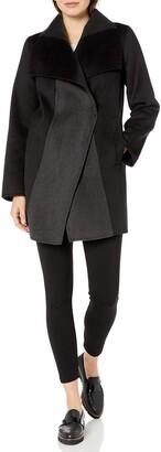 T Tahari Women's Mikki Two Tone Double face Wool Coat