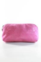 Fatto a Mano By Carlos Falchi Neon Pink Printed Full Zipper Clutch Handbag