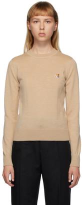 MAISON KITSUNÉ Beige Wool Fox Head Sweater