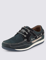M&S Collection Leather Lace-up Sport Deck Trainers