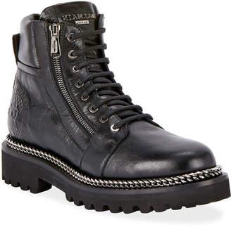 Balmain Army Shiny Chain-Trim Boots