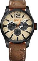 HUGO BOSS Orange Men's 44mm Brown Leather Band IP Steel Case Quartz Beige Dial Analog Watch 1513237