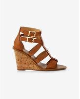 Express tan strappy cork wedge sandal