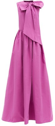 Valentino Bow Cotton-blend Faille Gown - Pink