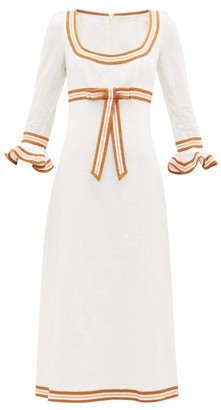 Zimmermann Super Eight Grosgrain-trim Linen Dress - Ivory