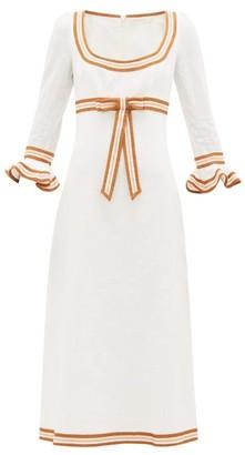 Zimmermann Super Eight Grosgrain-trim Linen Dress - Womens - Ivory