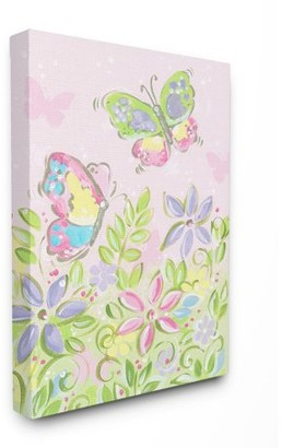 The Kids Room by Stupell Pastel Butterflies and Flowers XXL Stretched Canvas Wall Art, 30 x 1.5 x 40