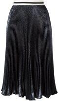 Nude metallic effect pleated skirt