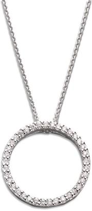 Roberto Coin Tiny Treasures Diamond & 18K White Gold Small Circle Pendant Necklace