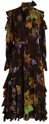 Off-White Leaves Ruffle Maxi Dress