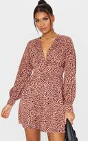 PrettyLittleThing Pink Leopard Print V Neck Long Sleeve Shift Dress