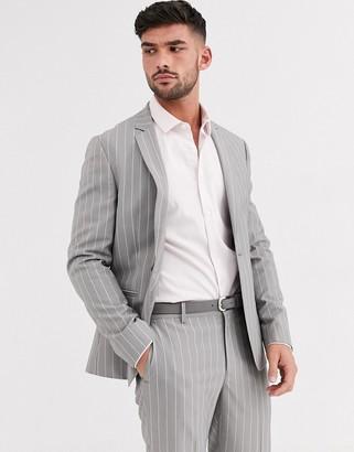 Asos DESIGN skinny suit jacket in soft gray pinstripe