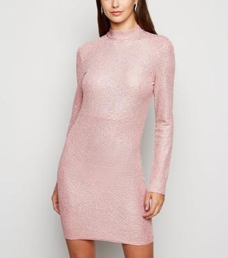 New Look Pink Vanilla Glitter Tie Back Bodycon Dress